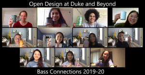 Open Design Bass Connections students in a Zoom meeting